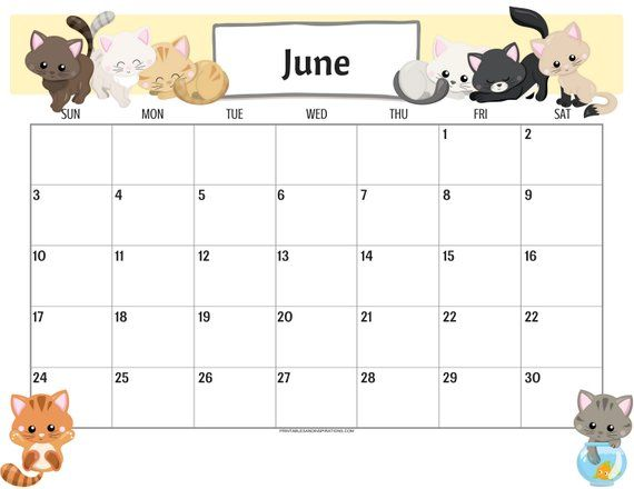 Cute Cats 2019 Calendar Printable Planner PDF with Free ...