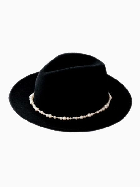 d4e0776773f New Look Black Pearl Felt Fedora (Women or Men) - Choies.com ...