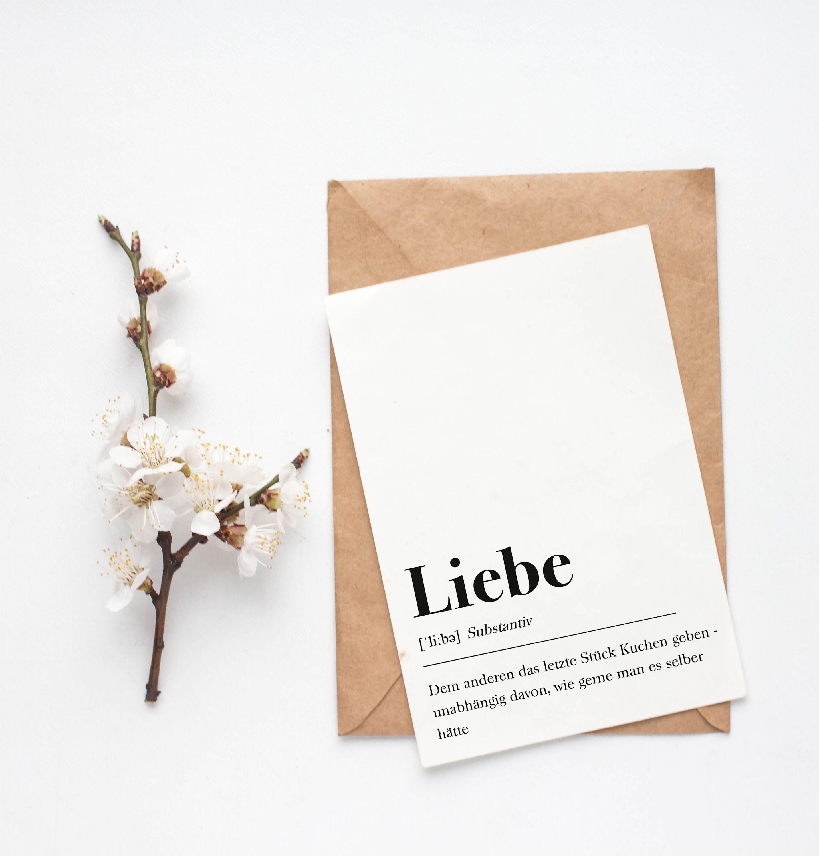 Grußkarte Liebe mit Umschlag (Schwarz Weiß Karte mit Kraftpapier)
