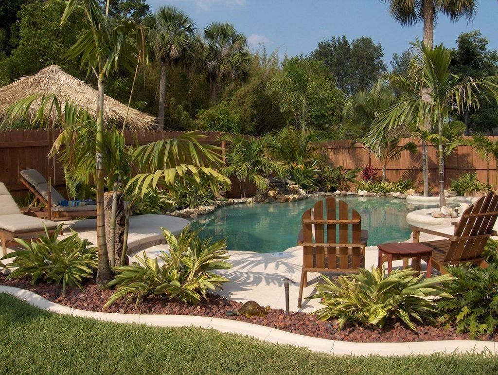 Cool 50 Simply Small Backyard Ideas With Swimming Pool Design More At Https Homyfeed Com 20 Tropical Pool Landscaping Pool Landscape Design Pool Landscaping