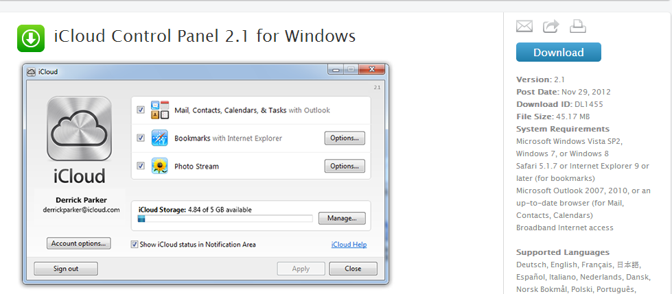 Download iCloud Control Panel 2 1 Compatible for Windows 8