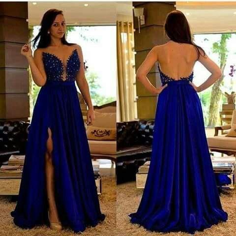 Vestido De Noche Color Azul Rey En 2019 Vestido De Fiesta