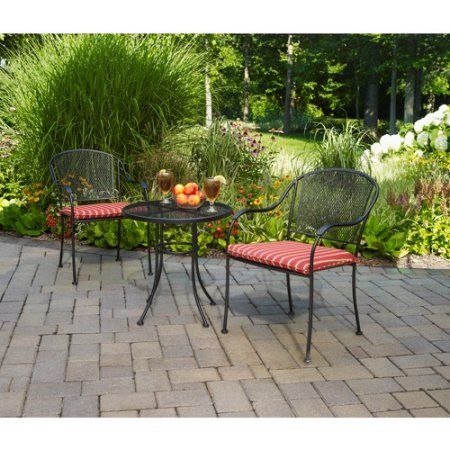 Mainstays Wrought Iron 3 Piece Outdoor Bistro Set Seats 2