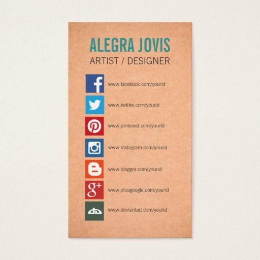 SOCIAL MEDIA ICONS SYMBOLS BUSINESS CARD. Visit Link To