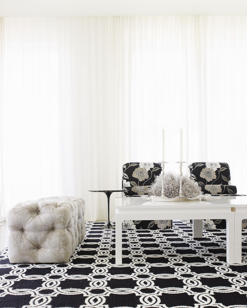 Custom tufted cubes custom chairs credit alice cottrell interior design