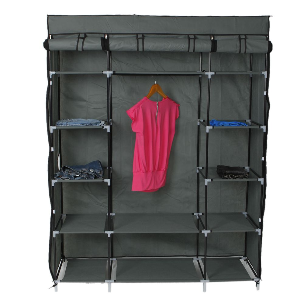 5 Layer Wardrobe Portable Closet Storage Organizer Clothes Non Woven Fabric Wardrobe With Shelves In 2020 Closet Clothes Storage Portable Closet Storage Closet Organization