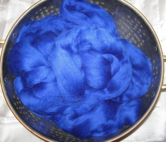 Corriedale Dyed Wool Roving Top in Royal Blue 8 oz by yarn2spin, $16.00