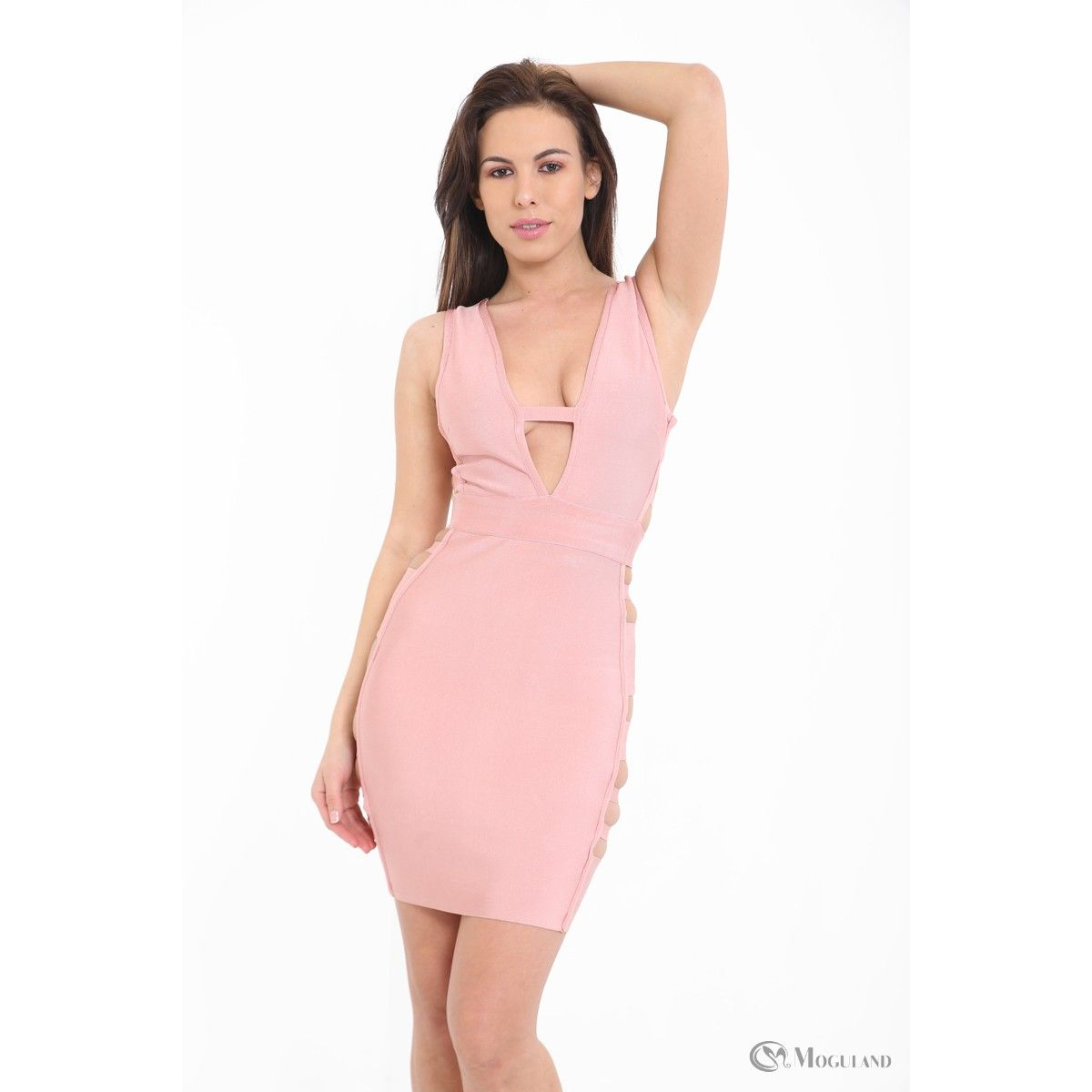 0f4cfa637a Ladies pink plunge cut out bandage dress wholesale - new in  dresses - Women s  Wholesale Clothing Supplier