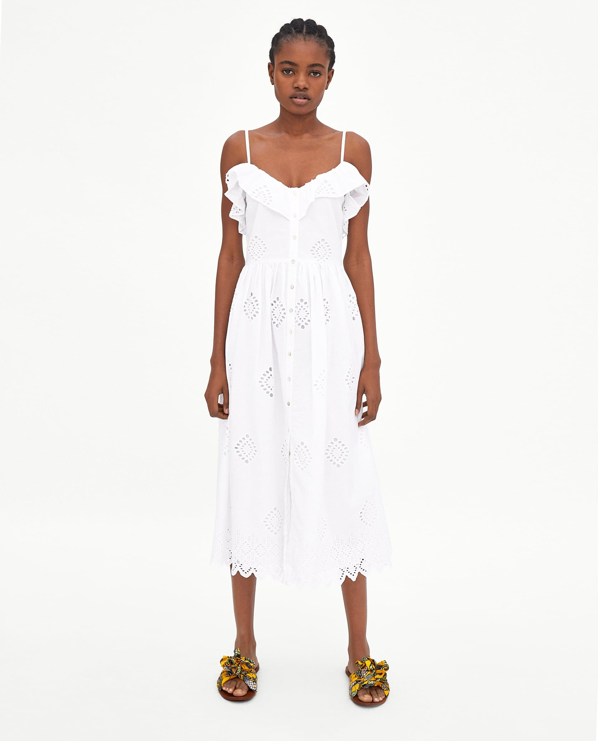 6561ba3e0a63 Image 1 of PERFORATED DRESS WITH EMBROIDERY from Zara