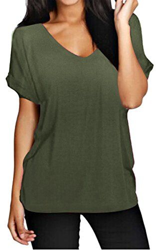 b1989f55fa6 Meaneor Women Solid Comfy Loose Fit Roll Over Short Sleeve V Neck Batwing  Top Tee Army