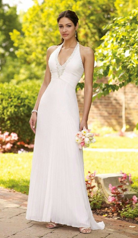 Feminine halter beading wedding dress for older brides for Wedding dresses for 60 year olds