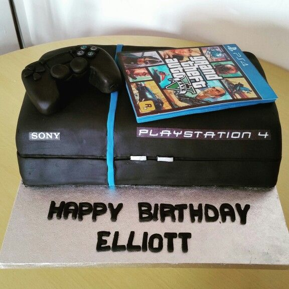 PS4 cake with edible controller and GTAV game such a fun
