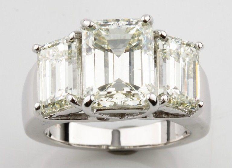 0c2a4fa4c Gorgeous 18k White Gold Emerald-Cut 3-Stone Diamond Engagement Ring  TDW=7.66 ct #ThreeStone