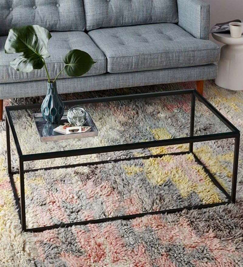 Coffee Table With Black Metal Frame Clear Glass Top By Asian
