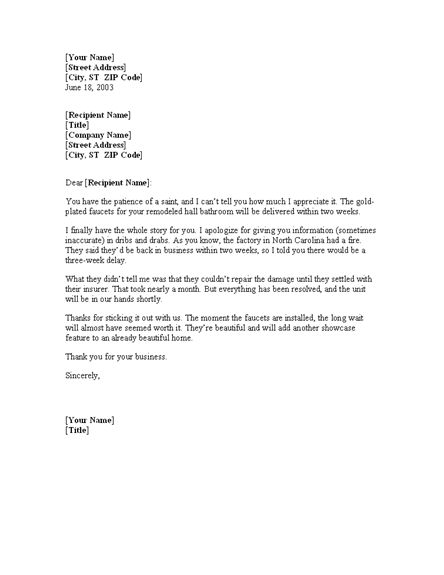 Letter To Customer Explaining Shipping Delays For Word  Or