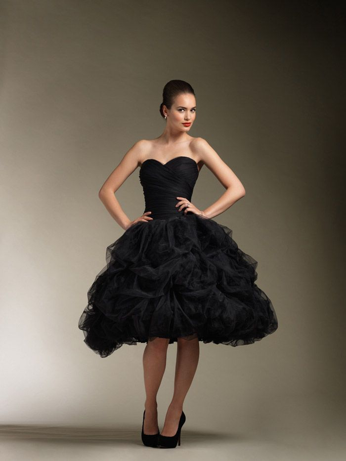 Black Strapless Knee Length Sweetheart Wedding Dress With Tulle Pick
