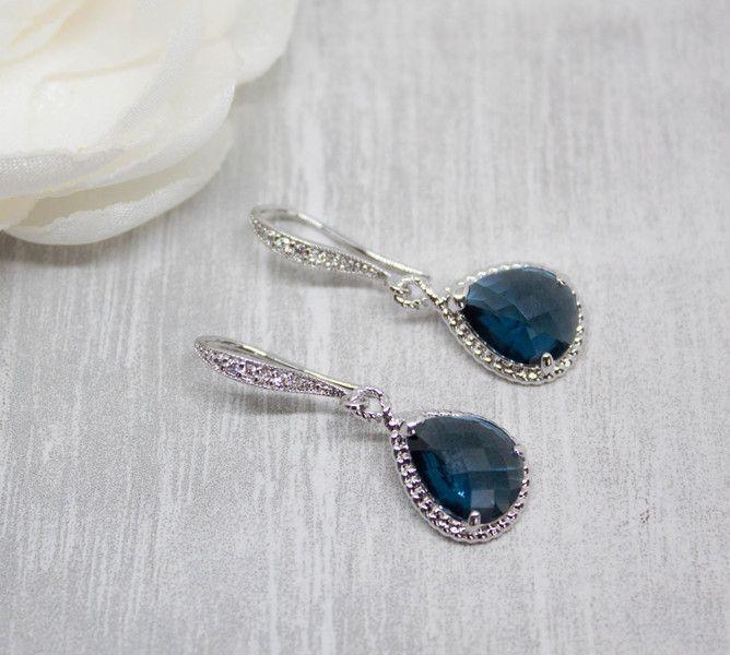 Brautschmuck - Ohrhänger Silber Tropfen Blau Hochzeit Braut - ein Designerstück von Catalea_M bei DaWanda