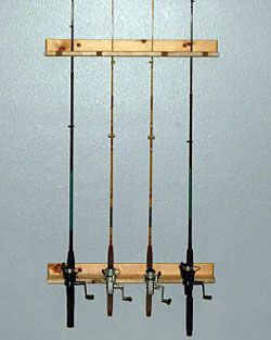 Wooden horizontal fishing rod racks rod rack for Horizontal fishing rod rack