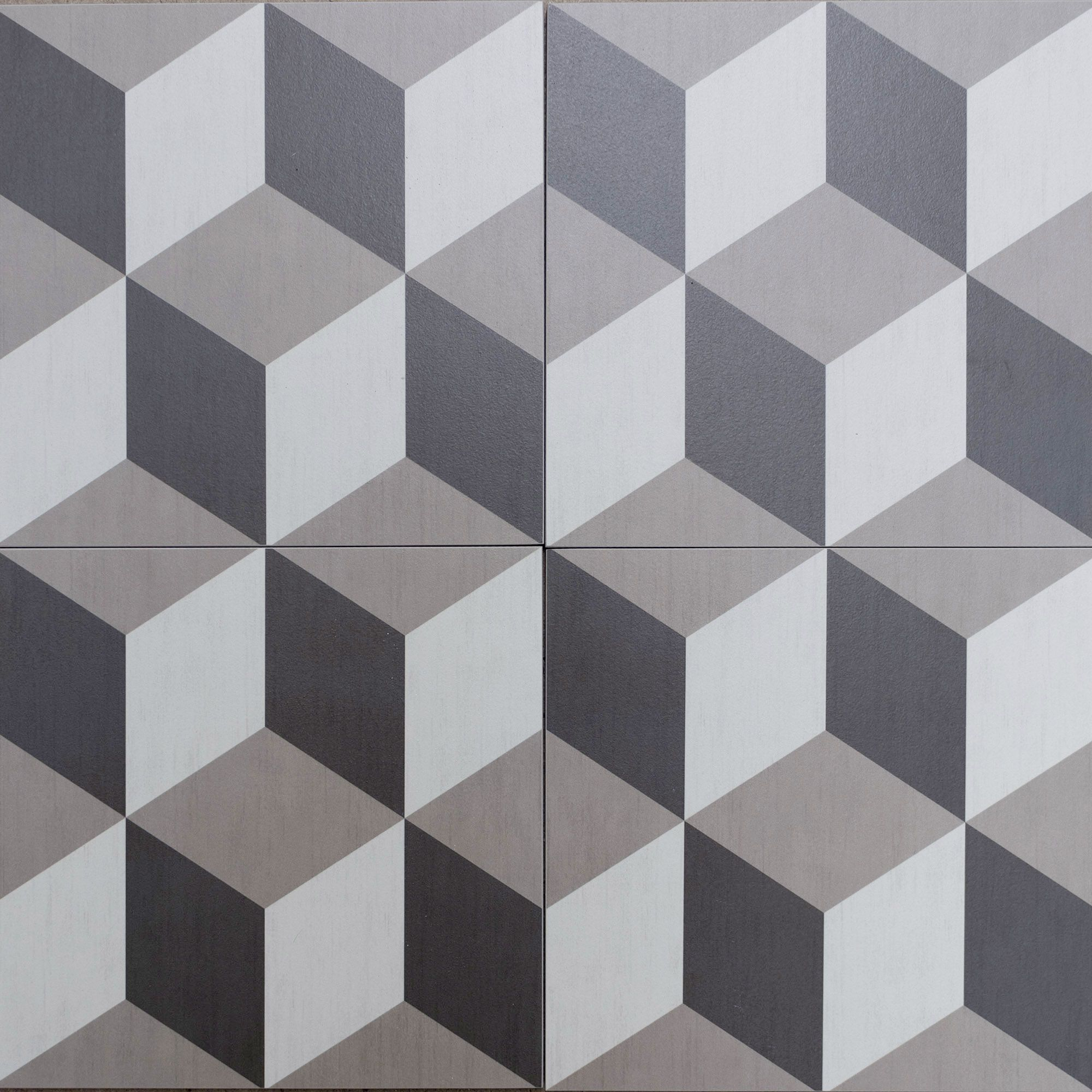Cubic Geometric Style Floor Tiles Encaustic Look Porcelain Tiles Grey Shades With Funky Retro Pattern Tile Patterns Tiles Tile Floor