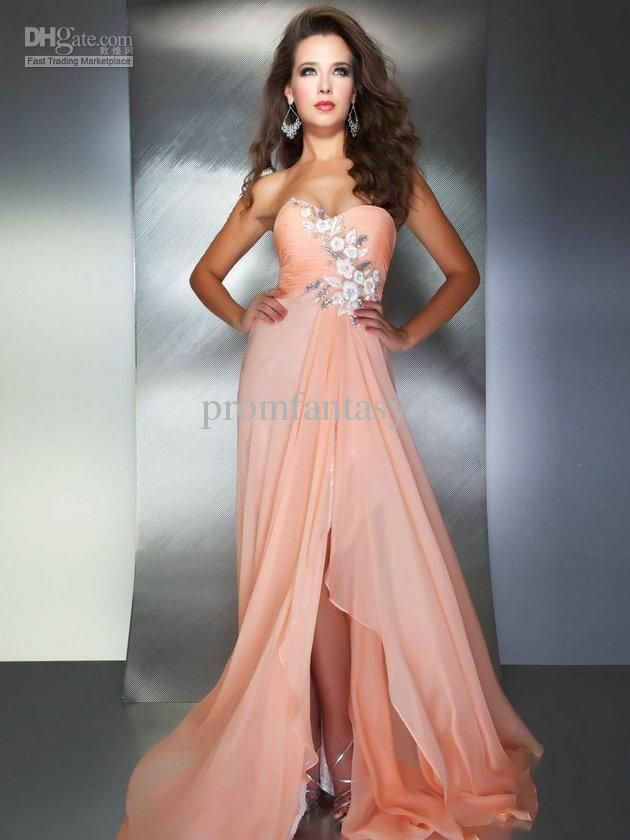 2016 Light Sky Blue/Peach Pink Chiffon Sweetheart Crystal Beaded ...