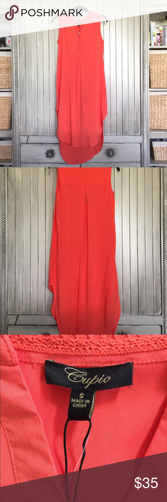 48bdaf694c6 NWT Cupio Hi Lo Dress Tunic Small Orange This is an orange Cupio hi