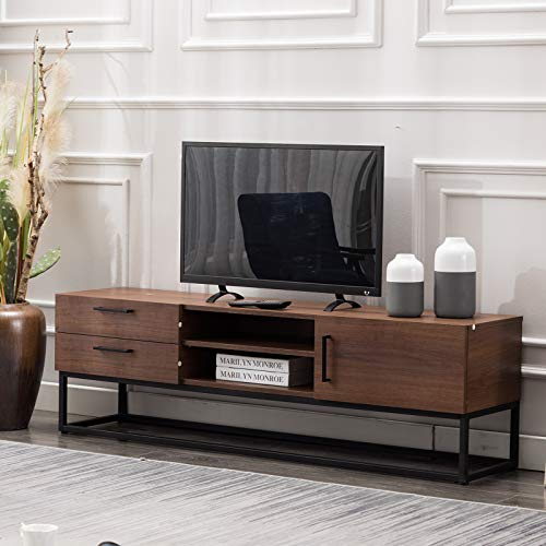 Canmov Tv Stand 59 For Living Room Entertainment Room Mid Century Furniture Brown Deals Furniturev Com Living Room Tv Stand Living Room Entertainment Living Room Console