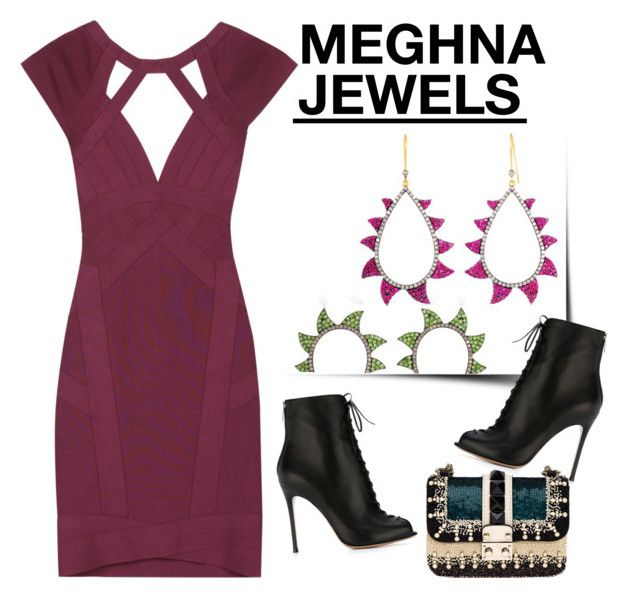 """""""MEGHNA JEWELS- Claw Collection"""" by gabyidc ❤ liked on Polyvore featuring Valentino, Gianvito Rossi and Hervé Léger"""