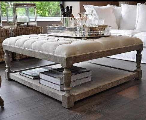 mesa de madera de roble tapizada capitone para su salón | Muebles ...