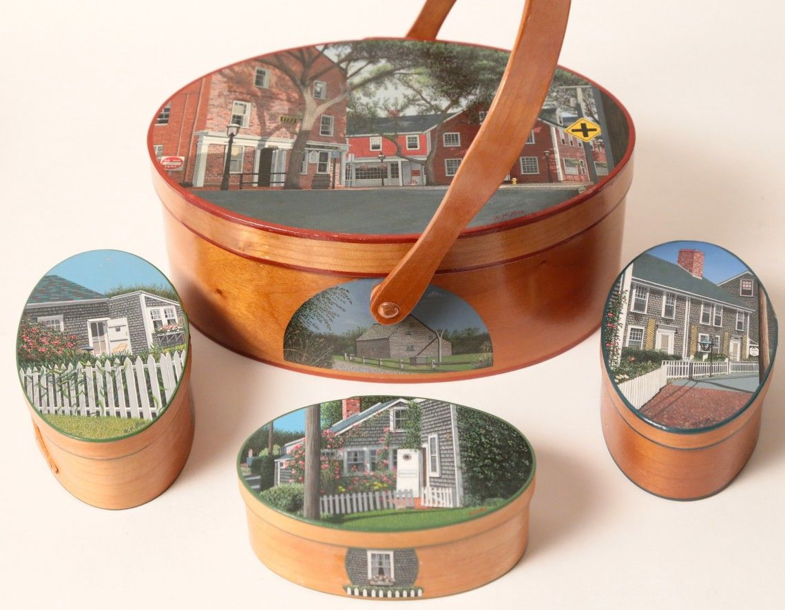 Collection Of H Mottes Hand Painted Ditty Boxes Rafael Osona Auctions Nantucket Ma Hand Painted Painted Boxes Auction