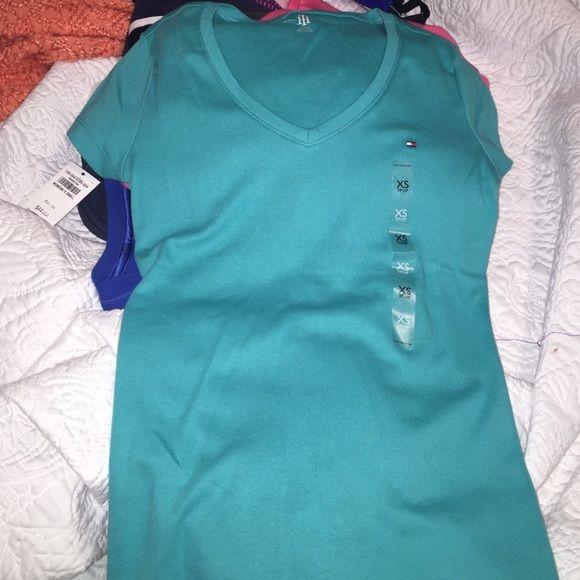 Tommy Hilfiger V-neck shirt Never worn. Color: teal Tommy Hilfiger Tops Tees - Short Sleeve