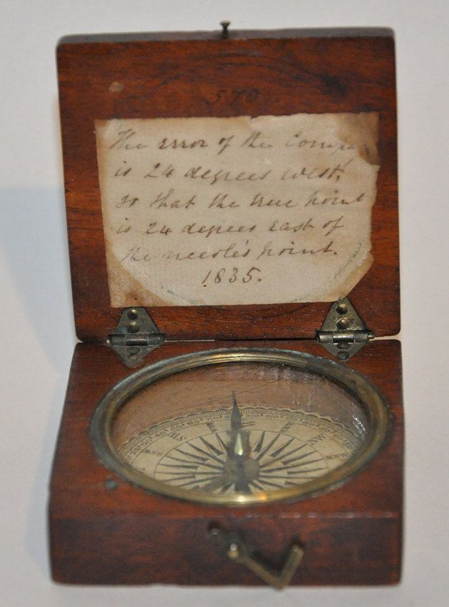 Genuine Vintage Antique Brass Compass In Wood Housing Dated 1835