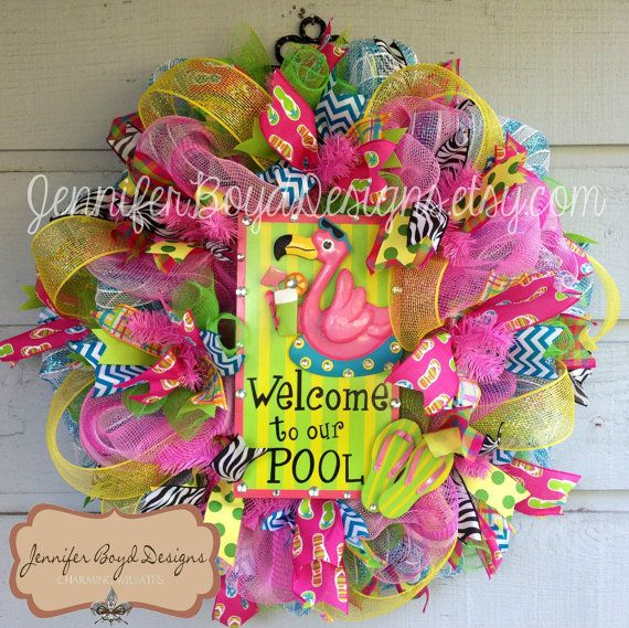 6d17210d65af7 Flamingo Flip Flop Welcome to Our Pool Deco Mesh Wreath