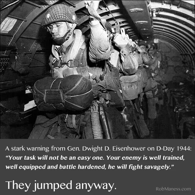 D Day 1944 General Dwight D. Eisenhower quote. WWII