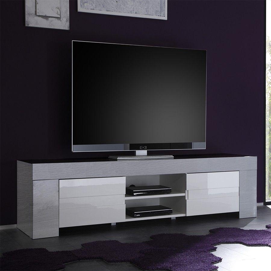 Meuble TV blanc laqué et bois gris moderne ELIOS 2