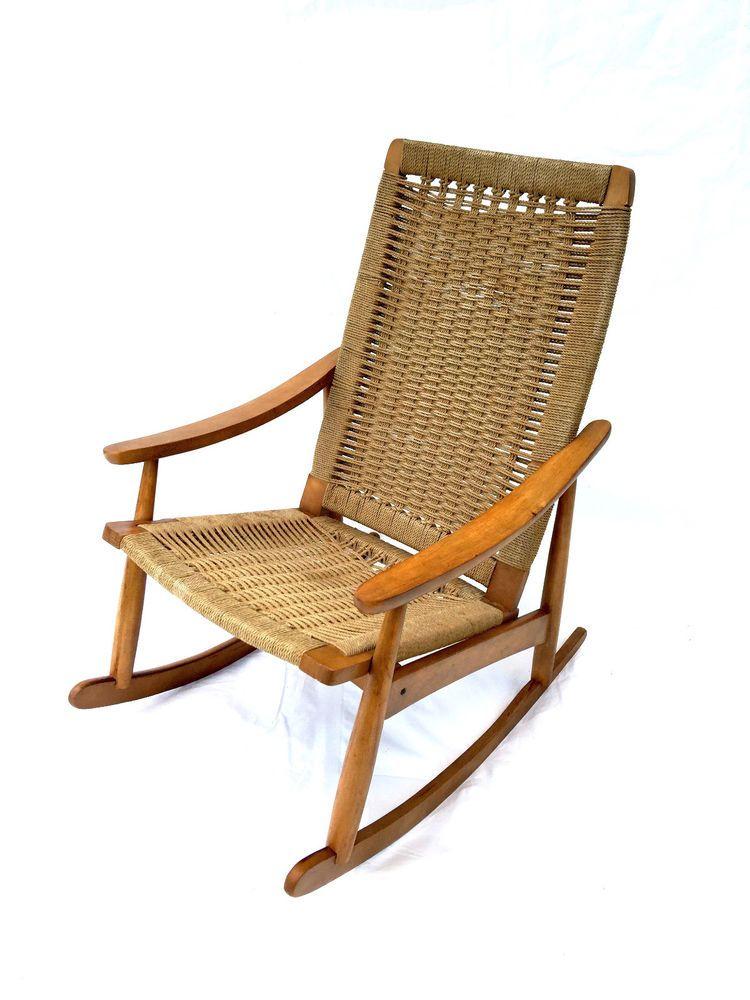 Delightful Hans Wegner Danish Modern Mid Century Rope Rocking Chair Yugoslavia