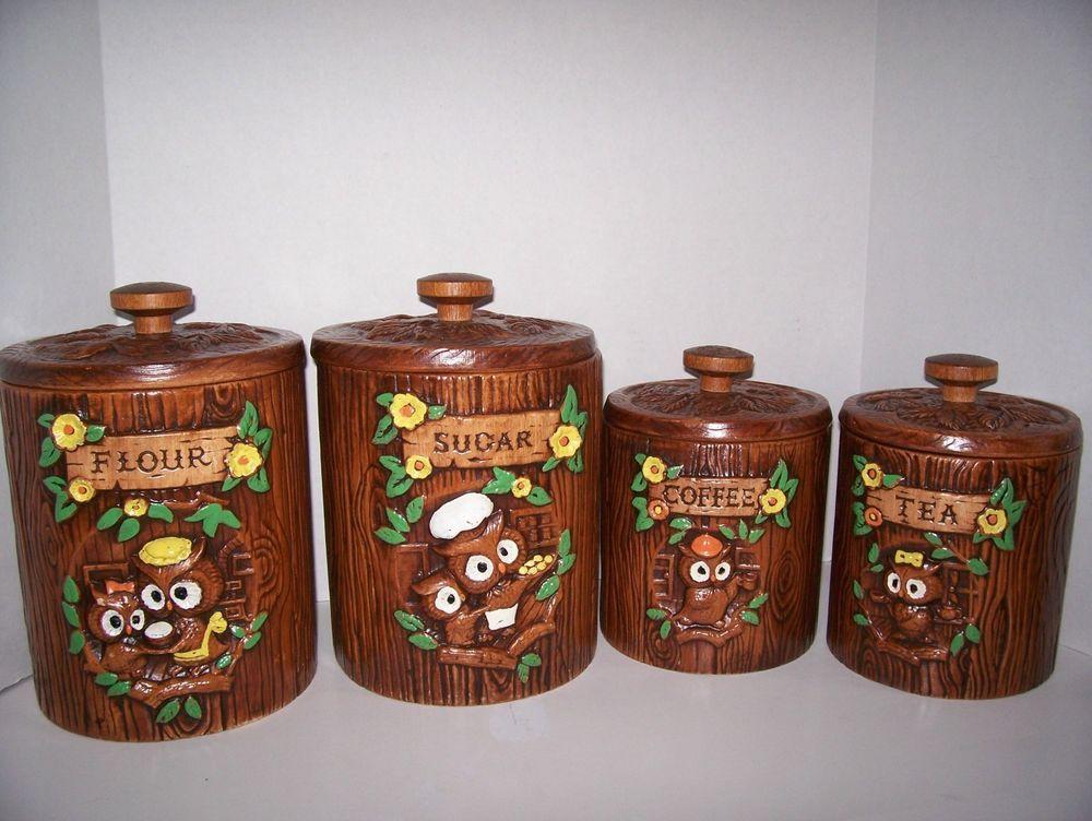 Wonderful Vintage Treasure Craft OWLS Canister Set C1960s Ceramic Flour Sugar Coffee  Tea