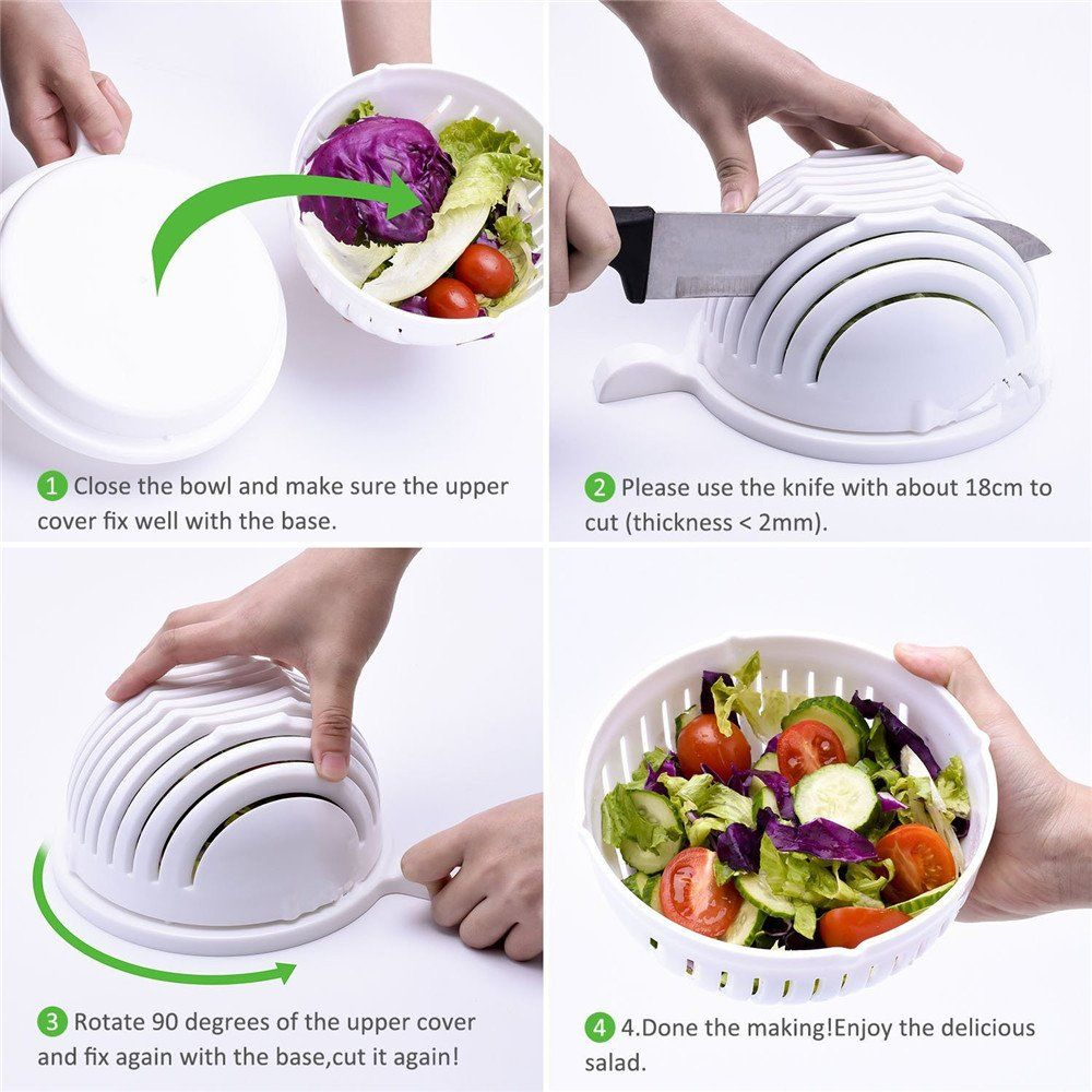 New! Salad Cutter Bowl. EasyFruit Vegetable Washer And Cutter Quick ...