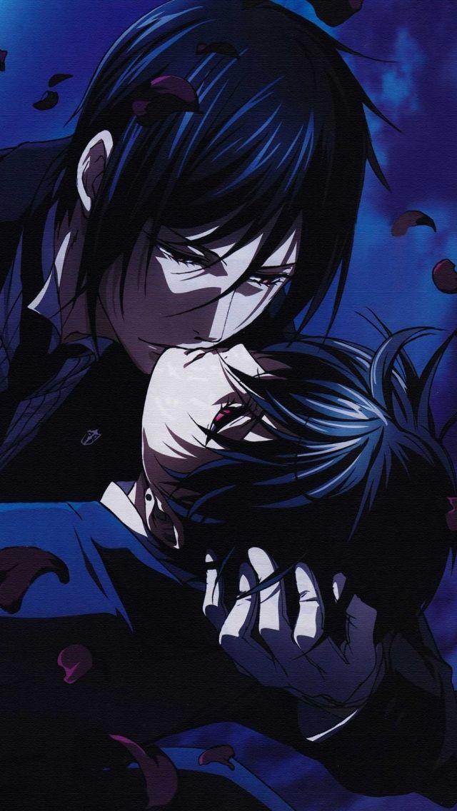 Download Wallpaper 640x1136 Kuroshitsuji Sebastian Michaelis Ciel Phantomhive Kiss Night Moon Iphone 5s 5c 5 Hd Background Anime đang Yeu Ba Tước