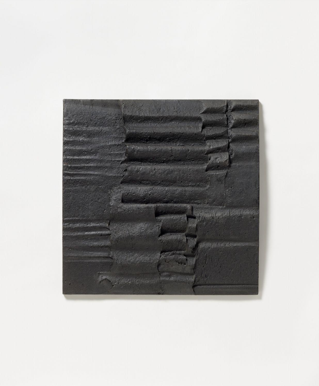 ADOLF LUTHER:  L + M (LICHT UND MATERIE), 1961. Materiebild: Pastose Masse aus Öl, Pigment und Kreide auf Hartfaser 57,5 x 57,5 x 5,5 cm.