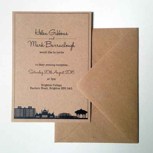 Brighton Skyline Wedding Invitation Brighton Invitation ideas and