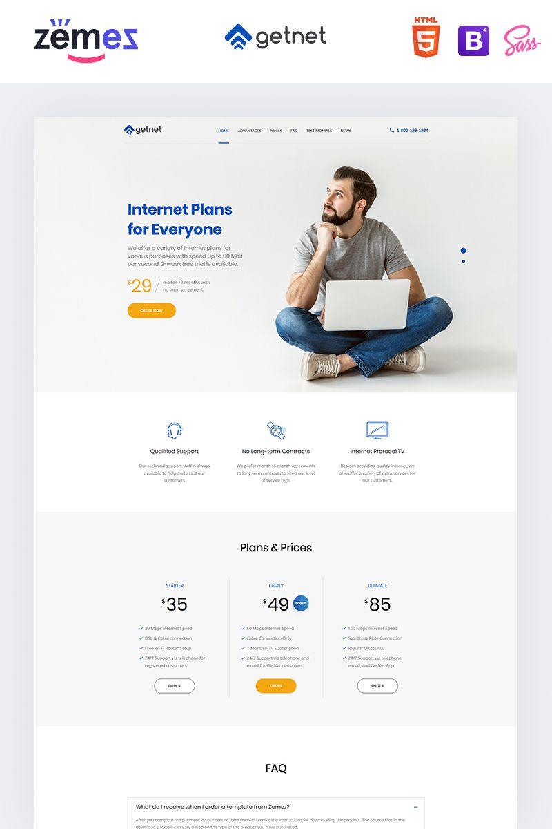 GetNet  Internet Service Provider Landing Page Template