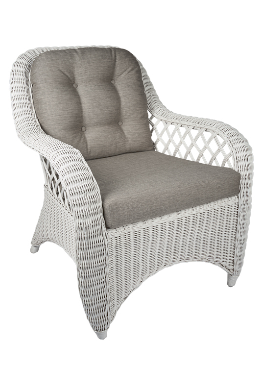 Witte Design Stoel Witte Rotan Fautueil Cambell - Exclusieve Rieten Stoel