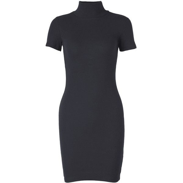 Women Casual Short Sleeve High Collar Knit Mini Dress (53 BRL) ❤ liked on Polyvore featuring dresses, black, short dresses, short sleeve summer dresses, knit dress, short sleeve dress and sexy short dresses