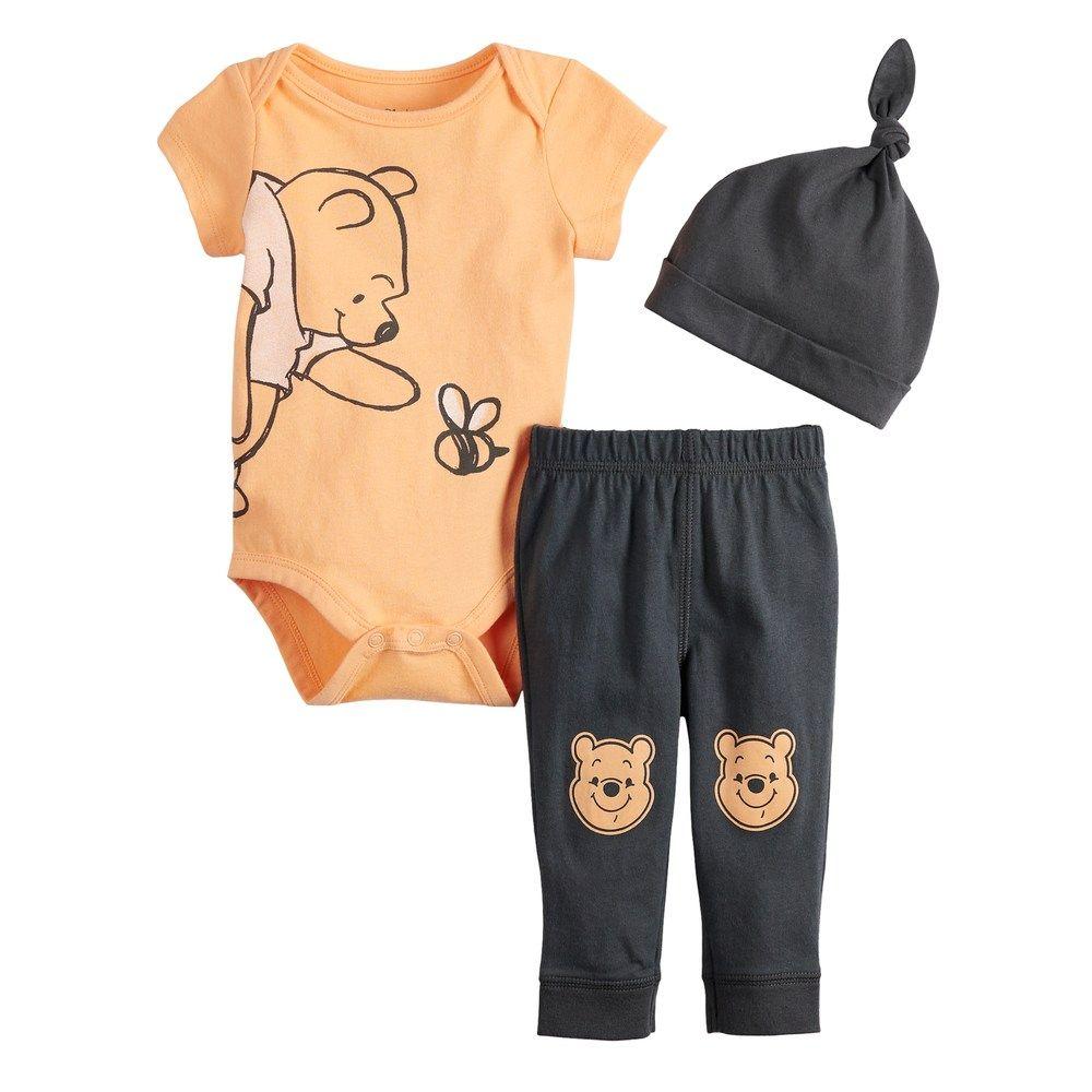 843062b6e Disney's Winnie The Pooh Baby Graphic Bodysuit, Printed Pants & Hat Set by  Jumping Beans®, Lt Orange