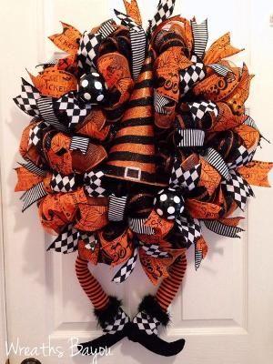 Halloween Wreath Witch Wreath with Legs Deco Mesh Wreath Halloween Decor by darlene