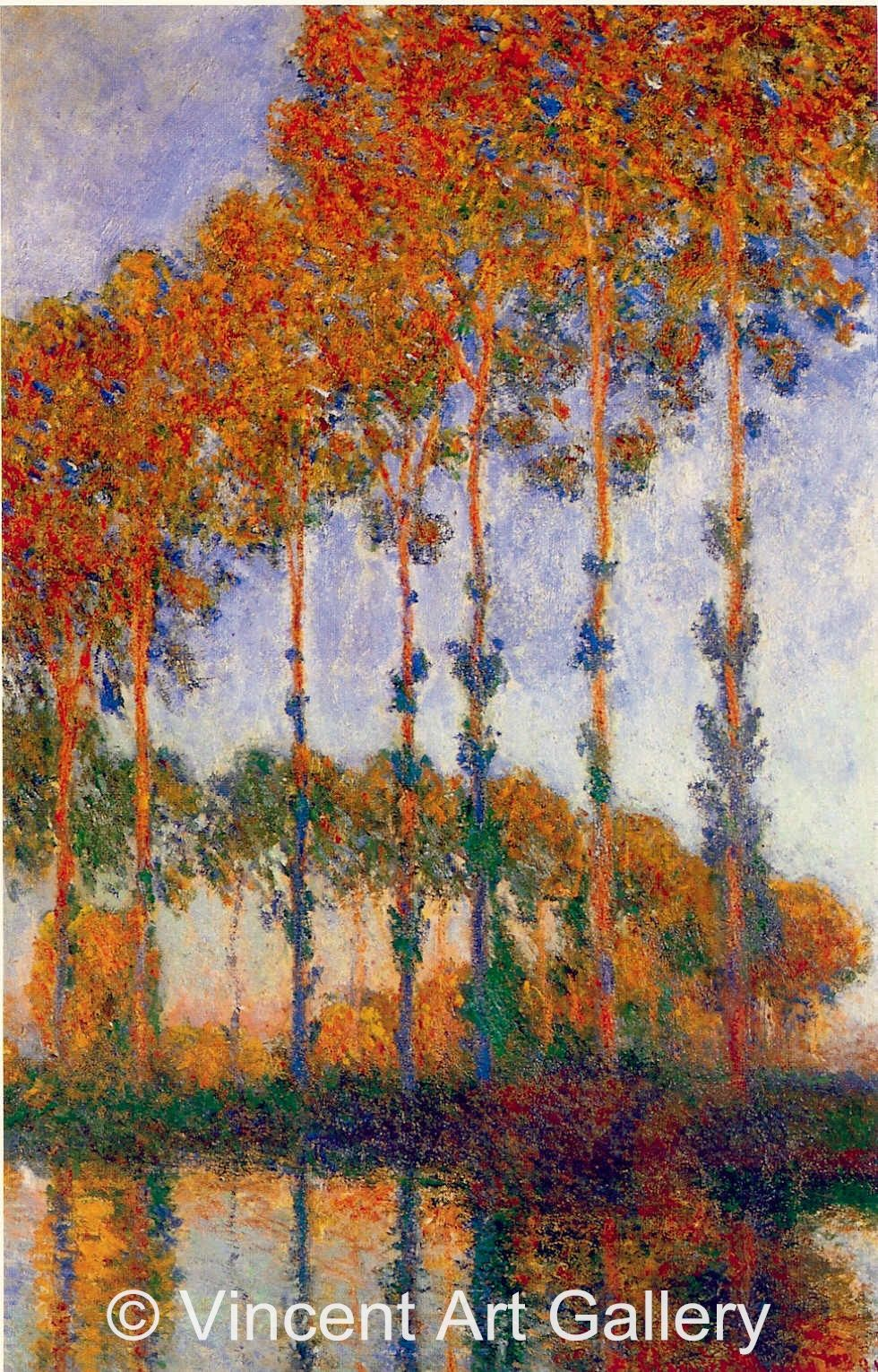Monet Poplars On The Bench Of The River Epte Sunset