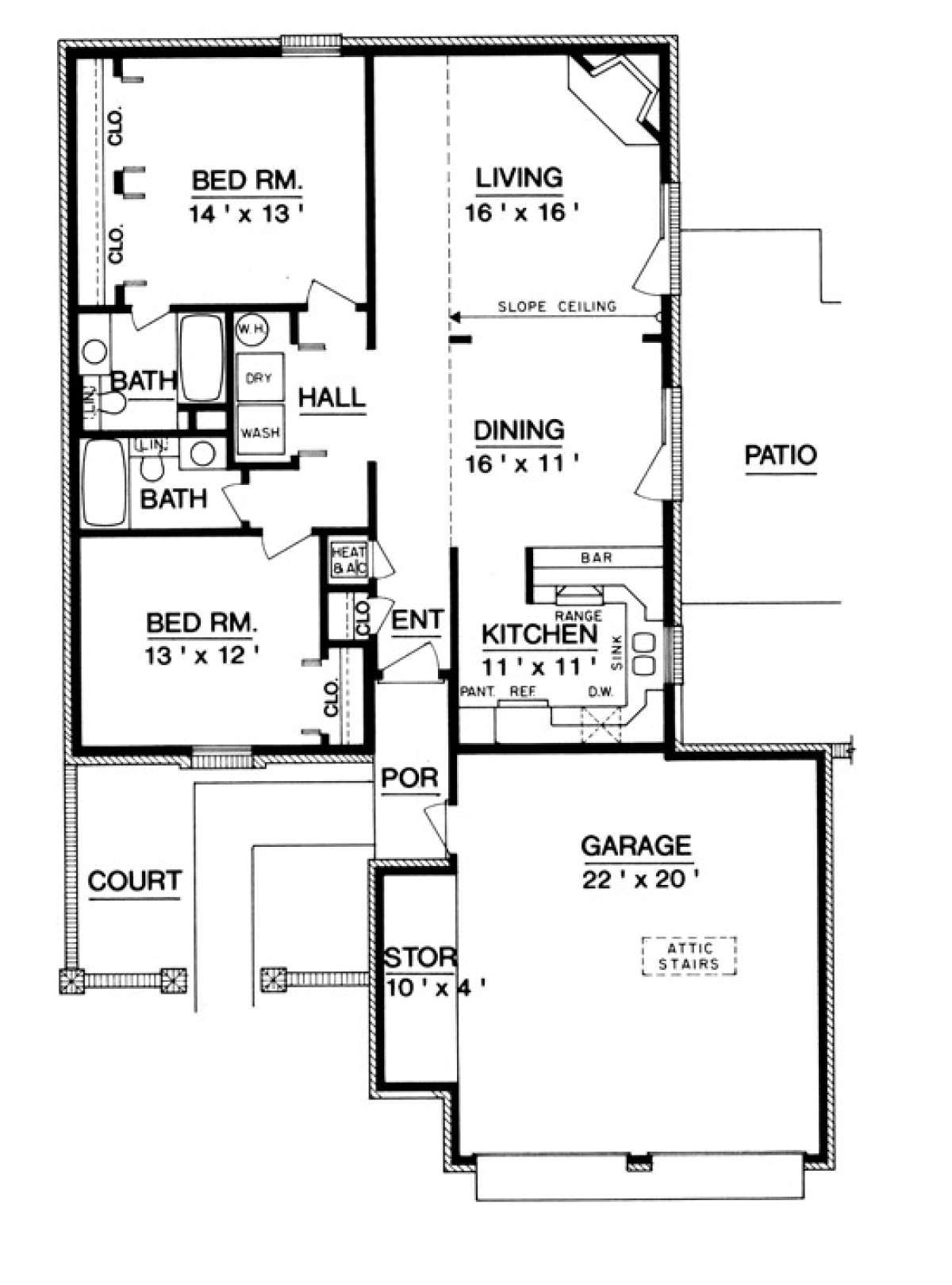 House Plan 048 00233 European Plan 1 200 Square Feet 2 Bedrooms 2 Bathrooms In 2021 Ranch House Plans House Plans Floor Plan Design