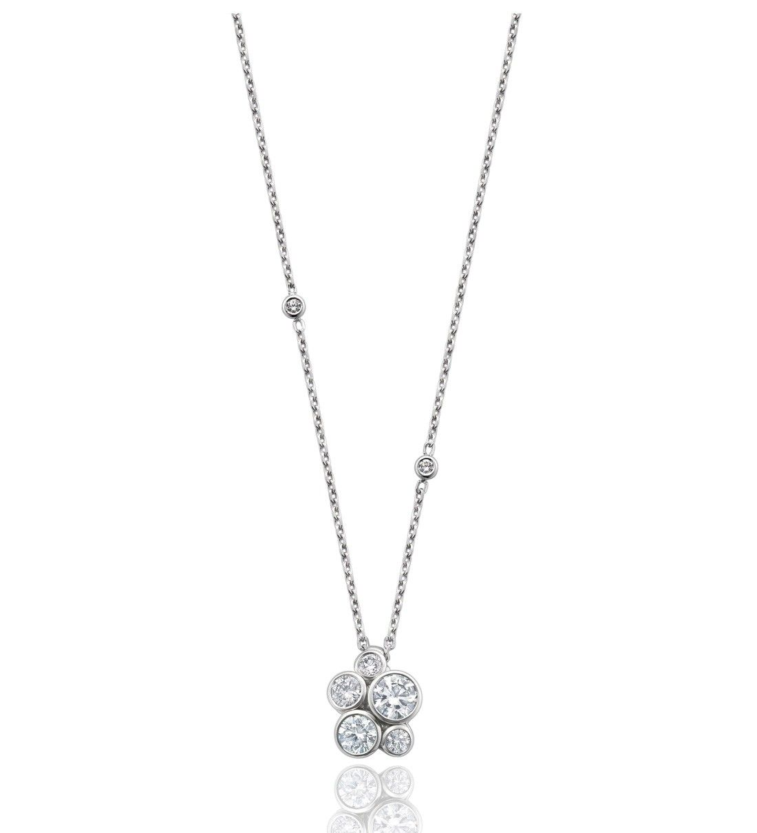 Raindance anniversary cluster pendant in platinum with diamonds