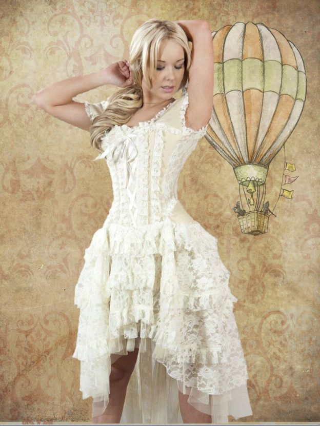 Made from cream taffeta with lace overlay panels. Fully boned corset top with cutest gypsy sleeves that can be worn on or off the shoulder. Silk cord lacing to the rear with modesty panel. Fully lined with cream lace skirt high at the front and cascading down to full length at the back.   eBay!
