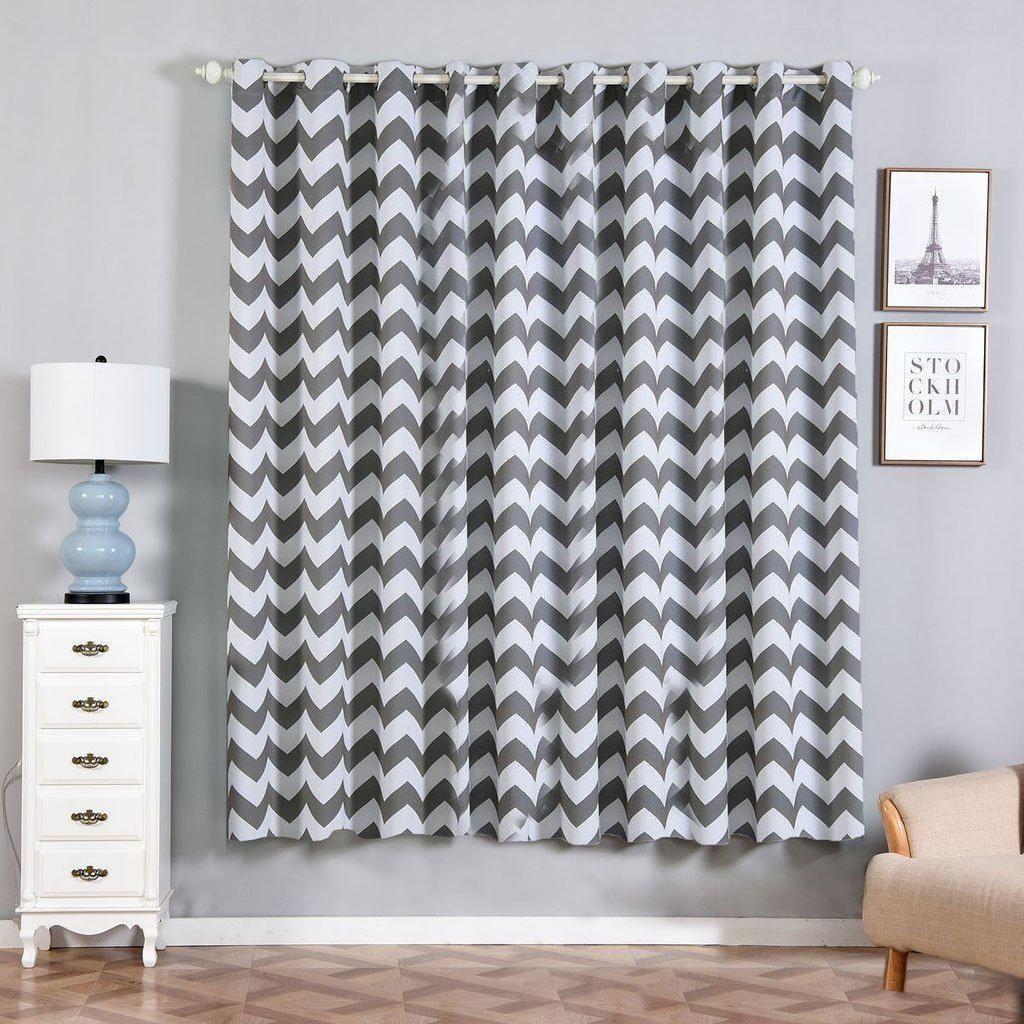 Chevron Blackout Curtains 2 Packs Charcoal Gray White